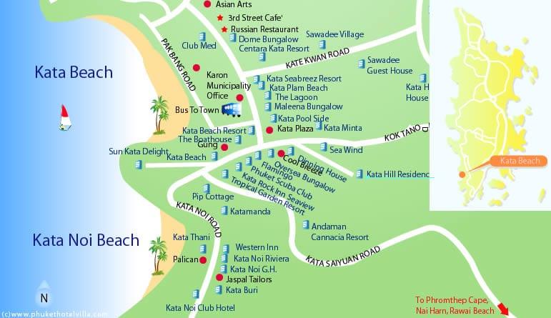 Карта отелей на пляже Ката
