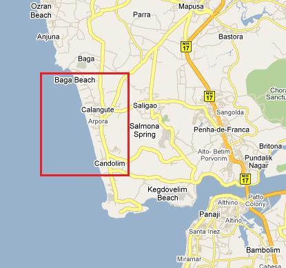 Пляж Бага на карте Гоа