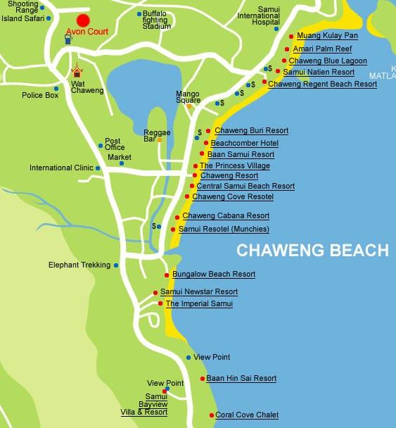 Пляж Чавенг на карте Самуи