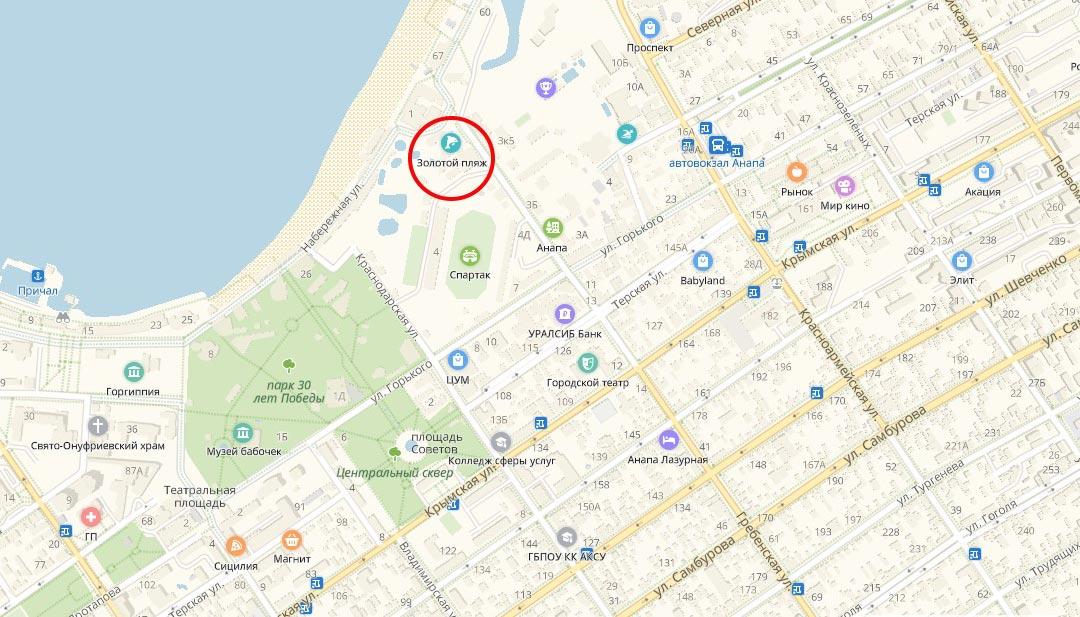 местоположение аквапарка Золотой пляж на карте Анапы