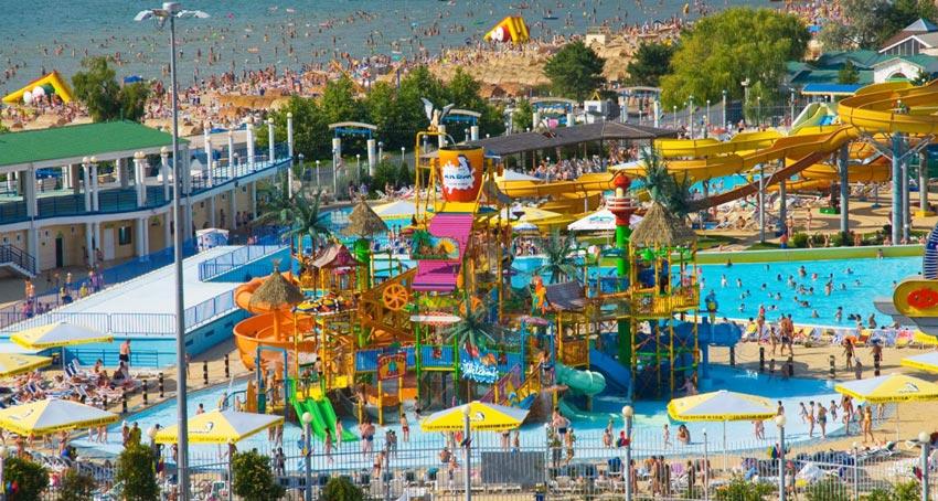 территория аквапарка Золотой пляж в анапе