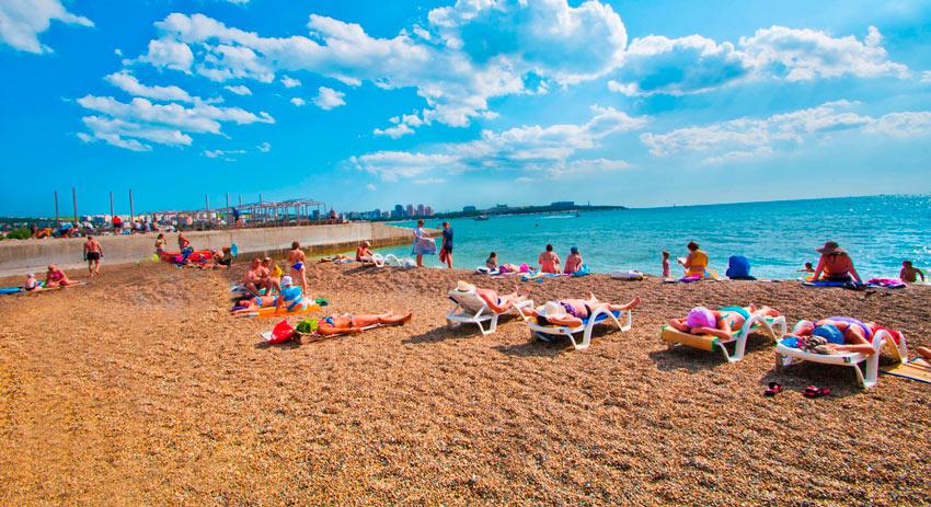 песчаный пляж Дружба Геленджик