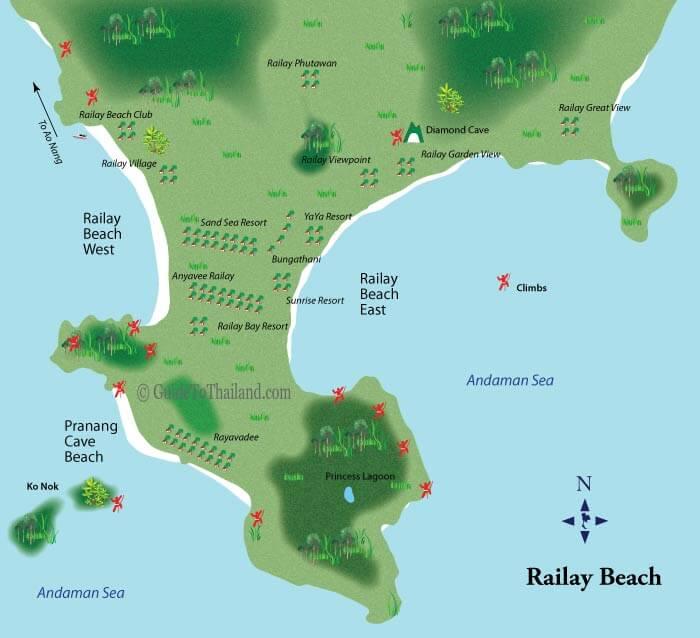 Пляж Рейли Краби на карте