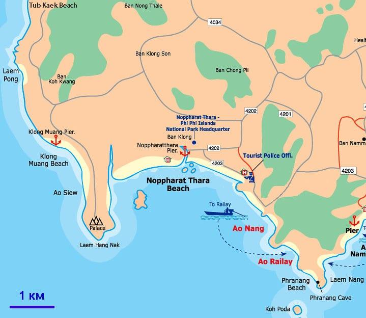 Пляжи Краби на карте