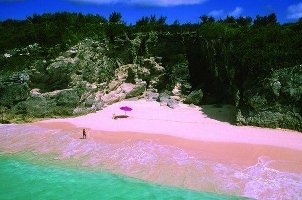 Пляж розовых песков на острове Харбор