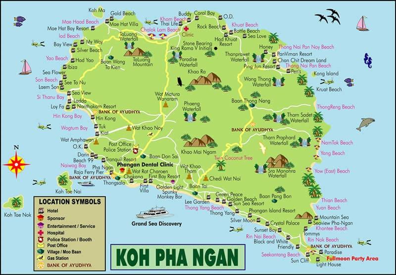 Карта Ко Пангана с пляжами