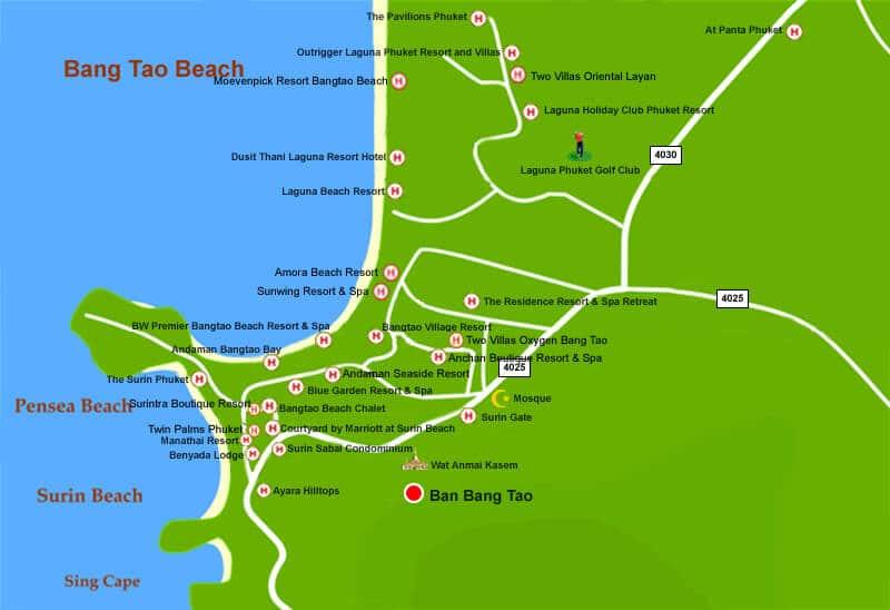 Bang Tao Beach на карте Пхукета