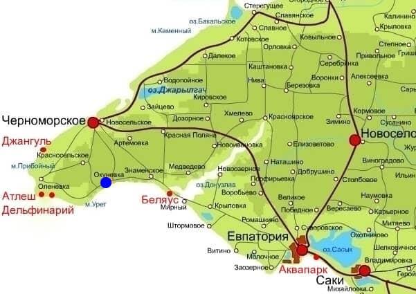 Пляж Беляус на карте Крыма