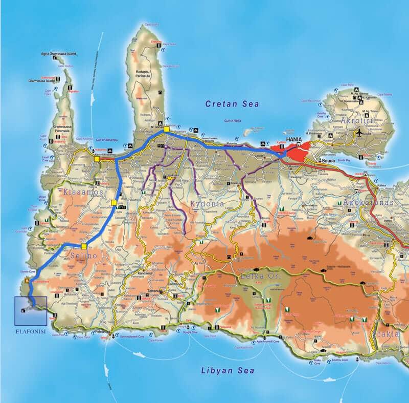 пляж элафониси на карте крита