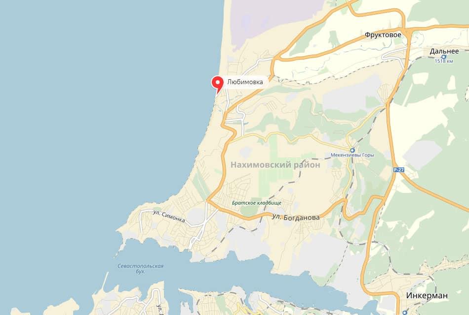 Расположение Любимовка Севастополь