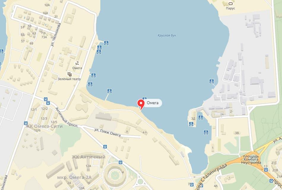 Расположение пляжа Омега Севастополь
