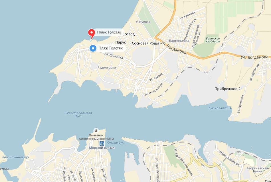 Местоположение пляжа Толстяк