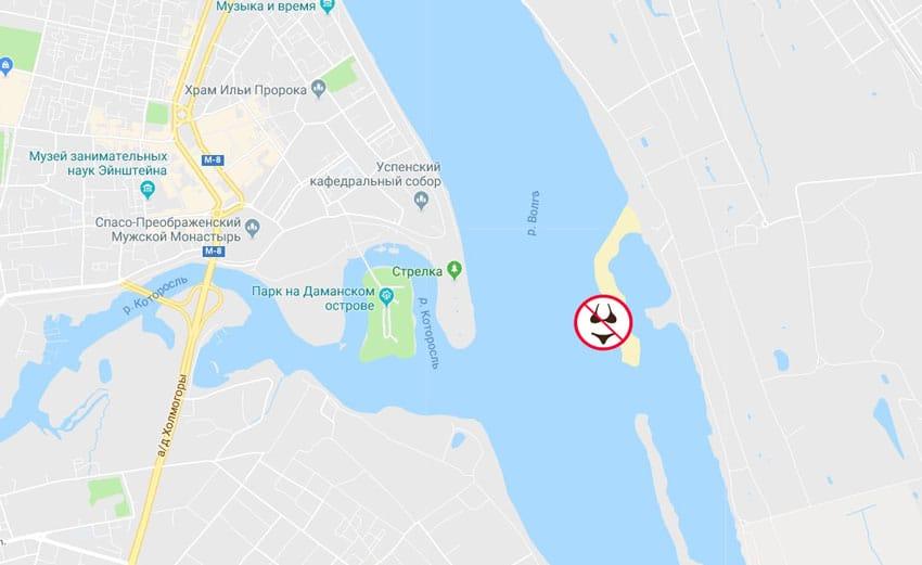 Нудистский пляж Ярославля на карте