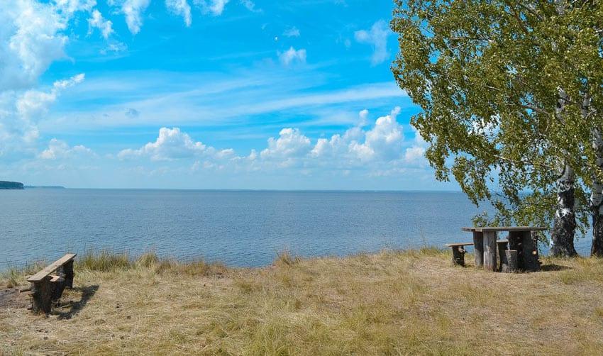 Пляж в Чкаловске на Горьковском море