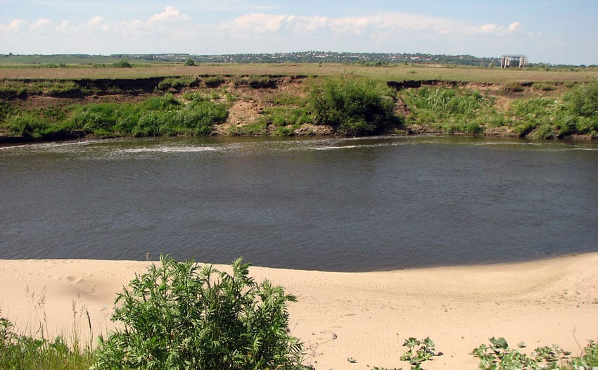 песчаный пляж река Мокша река Мокша Краснослободск