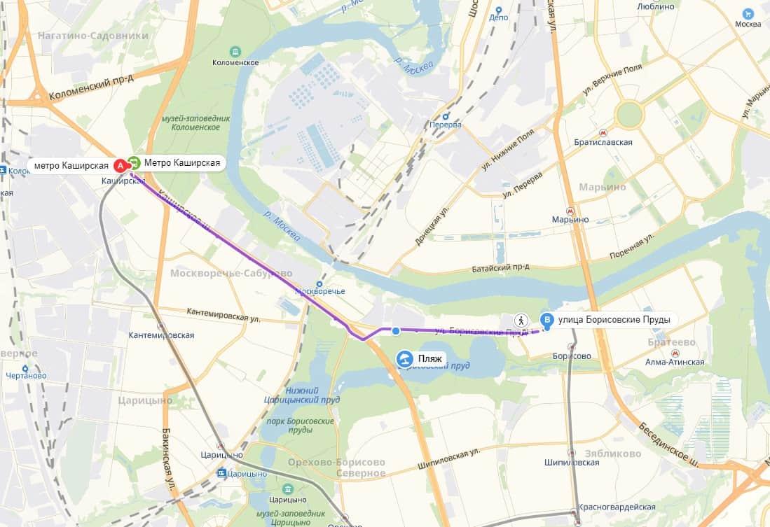 Борисовские пруды карта