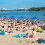 отдыхающие на Борисовском пруду