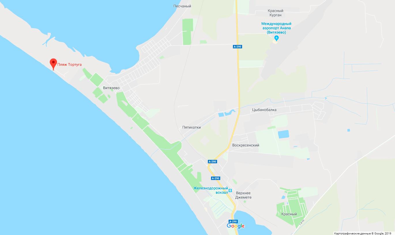 пляж Тортуга на карте